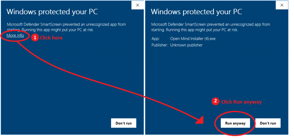 Windows Smartscreen warning. Click More info and Run anyway if the installer is blocked.